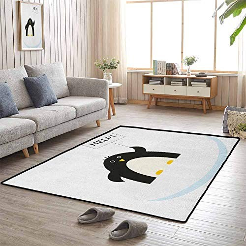 Cartoon Folding Mat Classroom Rug Arctic Animals Theme Penguin on an Ice Block Needs Help Illustration for Babies Infants Toddlers 5'x8' Black White and Sky Blue