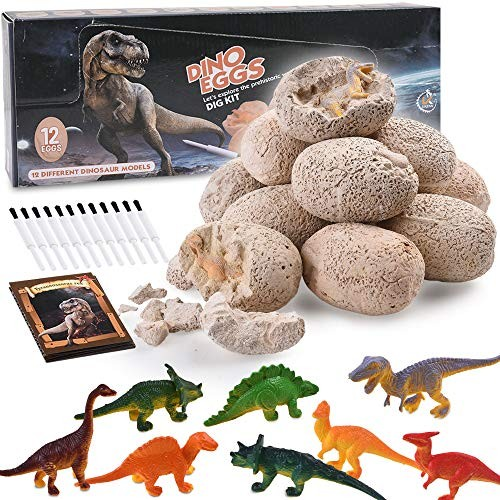 TriMagic Dinosaur Eggs Dig Fossil Kit 12pcs – Best Dinosaurs Toys Birthday Gift for 4 5 6 7 Year Old Boys Funny Party Game Kids