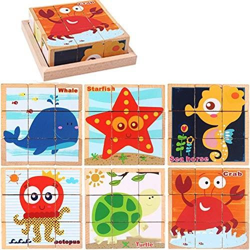 HotMall-US Preschool Toy Wooden Cartoon Print Building Block Puzzle Educational Children Gift #Ocean