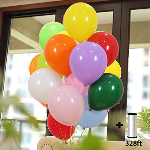 Hontex 100 Party Balloons 10 Inch Assorted Color Rainbow Set – Bulk Multi Colored Premium Quality Latex for Decoration Birthday Supplies or Arch Decoration 100 Pack