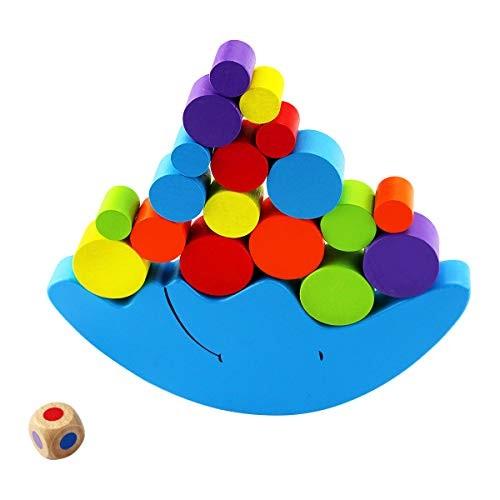 Oopsu Wooden Moon Equilibrium Stacking Blocks Building Balancing Game Sorting Toy for Kids