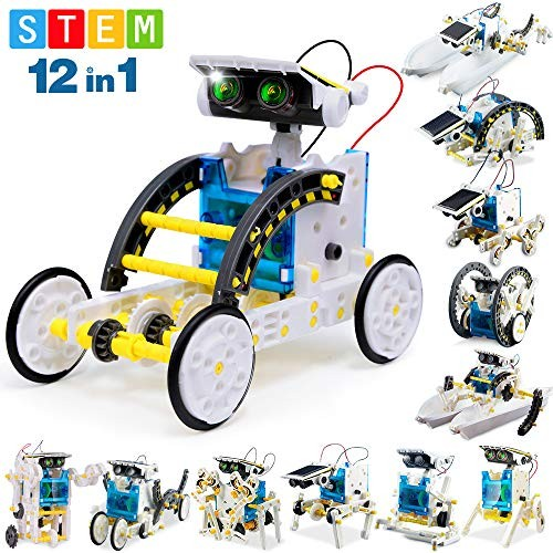 FLY2SKY 12-in-1 STEM Toy Solar Robot KIt DIY Building Gift for Kids 11 12 Science Kits Experiment Powered Robotics