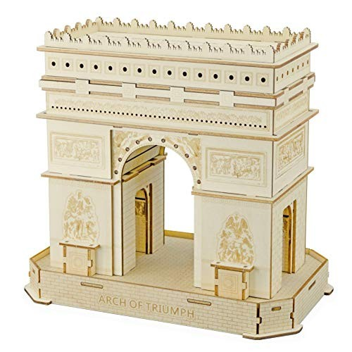 HxZB Arch of Triumph Basswood Material 3D Wooden Puzzle Assembly Educational DIY Toys Jigsaw Building Blocks for Teenage