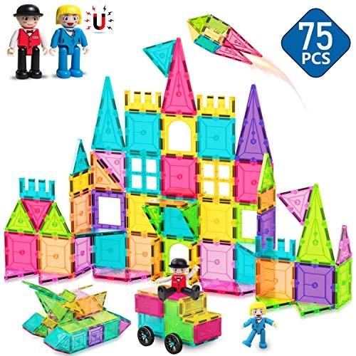 HOMOFY Kids Magnet TilesToys 75Pcs Oversize 3D Magnetic Building Blocks Tiles SetInspirational Educational Toys for Year Old Boys Gilrs Gifts