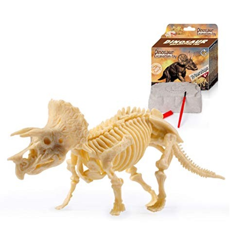 CoolEnding Kids Dig A Dino Kit Dinosaur Excavation Kits Assorted Fossil Skeleton Toys and Discover Triceratops Triceratops Type