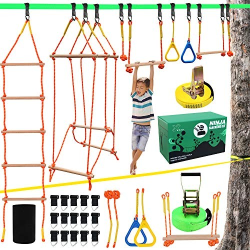 X XBEN Ninja Obstacle Course for Kids Slackline Kit 50' with 8 Accessories –