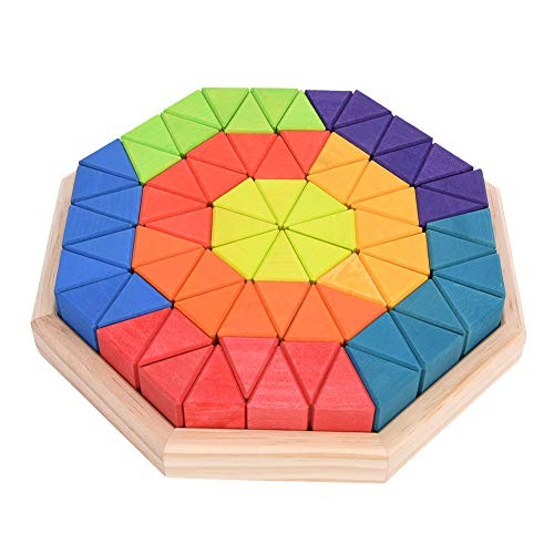 Kids Puzzle Educational Toy Octagon Wooden Toys Colorful Geometric Triangular Boxed Building Blocks Gift for Toddlers Colorful