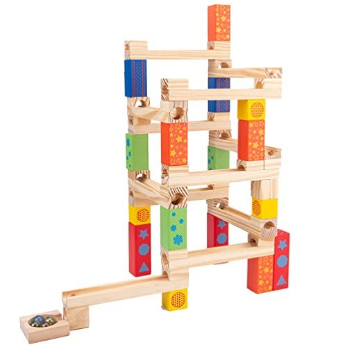 Toyvian Wooden Marble Run Building Blocks Construction Toys Set Puzzle Race Track Fine Motor Skill Toy for Kids Toddler Children