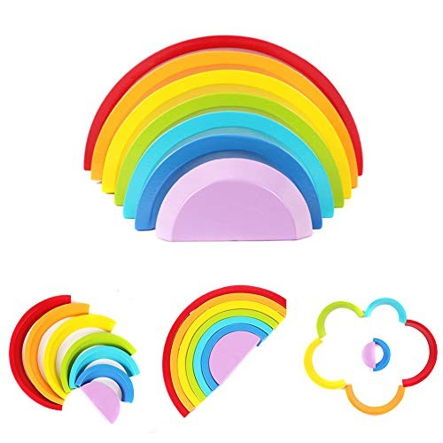 ROLENUNE Wooden Rainbow Stacking Toys for Kids Puzzle Building Blocks Children Educational Learning Toy Set Game Montessori Gift Toddler Age 4 5 6 Years Old