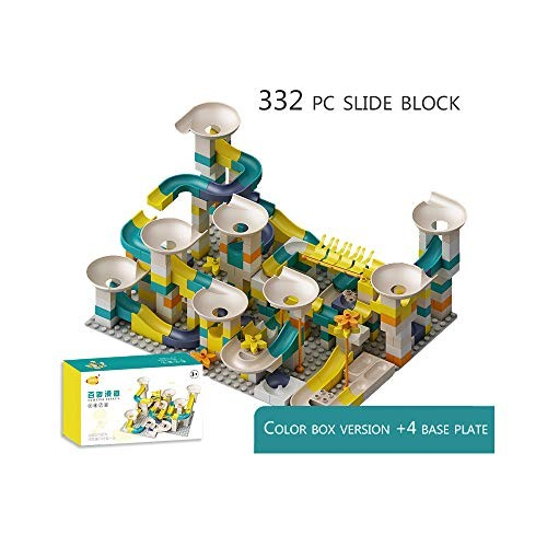 QREZ Marble Run Building Blocks Construction Toys Set Puzzle Maze Roller Coaster Block for Children Learning Playset332 Accessories