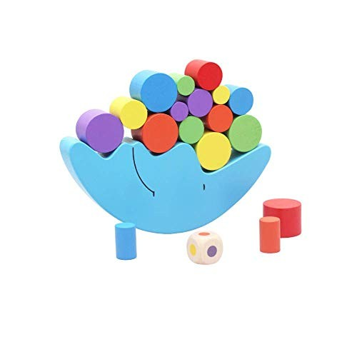 Auch Colorful Wooden Moon Balancing Building Blocks Montessori Toy Balance Early Development Wood Educational Toys for Children
