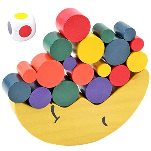 Wooden Moon Balancing Colorful Blocks Building Stacking Development Toy Puzzles & Magic Cubes Perfect Fun Time Play Activity Gift for Boys Girls