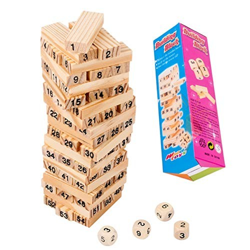 Adarl Wooden Stacking Board Building Blocks Digital Block Games for Kids – Educational Toys with 54 pcs Hardwood and 4 Dices