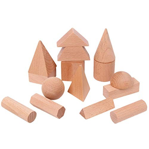 Exceart 15pcs Wooden Building Blocks Block Set Cube Toys for Kids Toddlers DIY