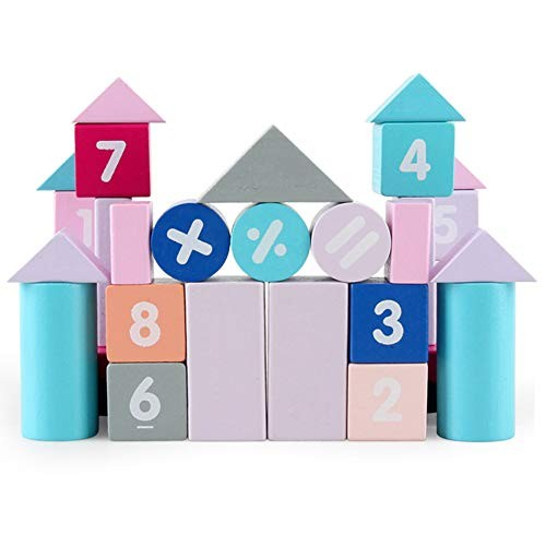 50Pcs Set Wooden Macaroon Blocks Construction Building Numbers Learning Toy & Education Perfect Fun Time Play Activity Gift for 50pcs
