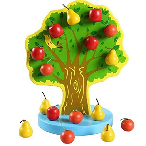 Wooden Magnetic Apple Fruit Tree DIY Building Blocks Kit Educational Toy Learning & Education Perfect Fun Time Play Activity Gift for Boys Girls