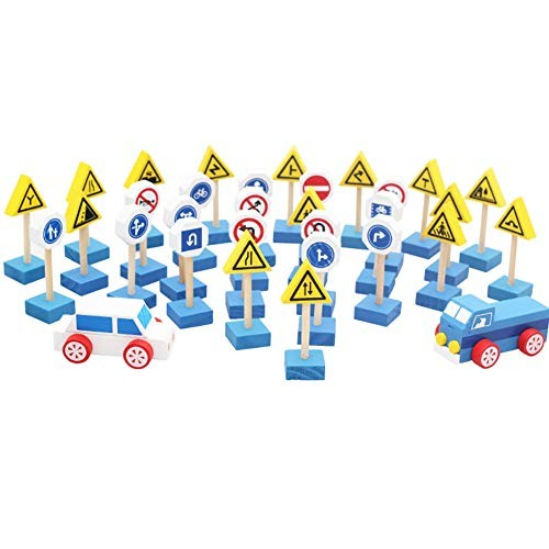 Wooden Street Road Traffic Sign Building Blocks Handicraft Education Toy Learning & Perfect Fun Time Play Activity Gift for Boys Girls