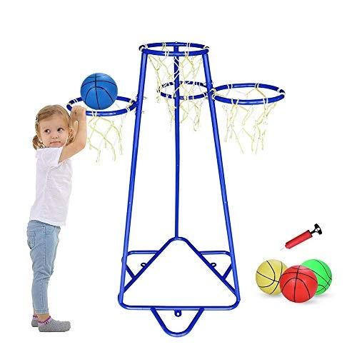Pantrasamia Kids Basketball Hoop Portable Basketball Stand with 4 Hoops at Varying Heights and