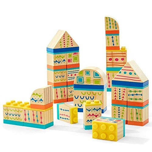 Imaginarium Discovery Connecting Blocks 24 Piece Interlocking Plastic and Wooden Building Set Compatible with Major Brands