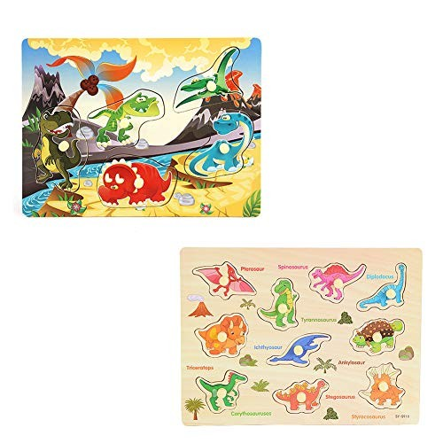 HAPPYMATY Kids Wooden Puzzle Board Games Set Montessori Smooth Edge Wood Learning and Educational Blocks with Handle for 1 2 3 4 Toddler Dinosaur Toys