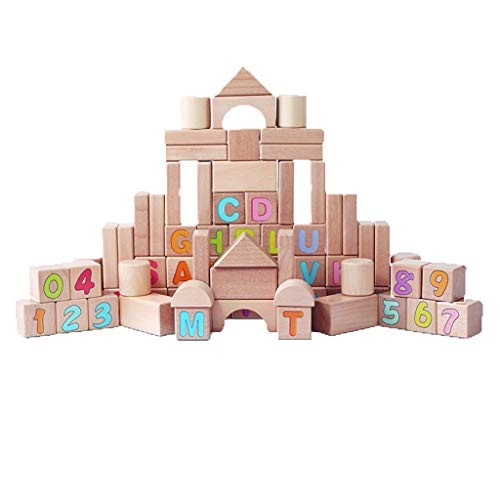 Alphanumeric Building Blocks Toy Wooden Shape Brick