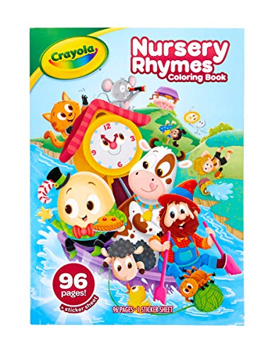 Crayola Nursery Rhymes Coloring Book with Stickers 96 Pages Gift for Kids Ages Multicolor