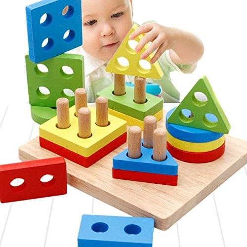 Eugeneq Children Wooden Color Geometric Building Block Toys Educational Preschool Shape Board Stack