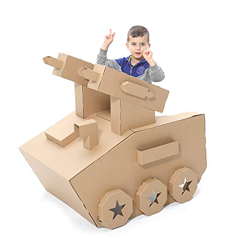 Creative Tank Model Cardboard Toys Kids DIY Coloring Splice Crafts Wearable Assemble Playhouse Puzzles for Children Indoor Gift 24x39x39 inch