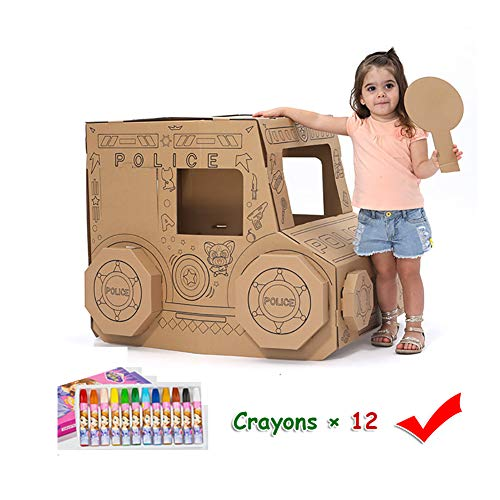 Cardboard Coloring Playhouse Car Kids Foldable Play House Kit Corrugated Child DIY Hand Drawing Painting and Imagination Training Toy Crayons Included – 24 L x 35 W 28 H
