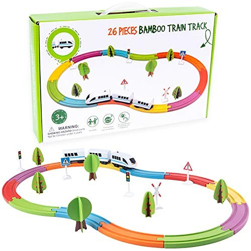 FairOnly Electric Train Set Rail Toy Magnetic Assembled Building Blocks Children's Wooden Educational Toys for Kids Boys Girls
