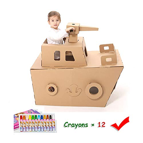 Cardboard Coloring Playhouse Tank Kids Foldable Play House Kit Corrugated Child DIY Hand Drawing Painting and Imagination Training Toy Crayons Included – 26 L x 39 W 34 H
