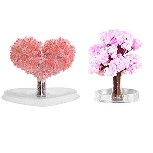 Toysgift Magic Crystal Growing Tree Paper Toy for Kids Crystals Love Cherry Christmas Birthday Daughter Women 2 Pack