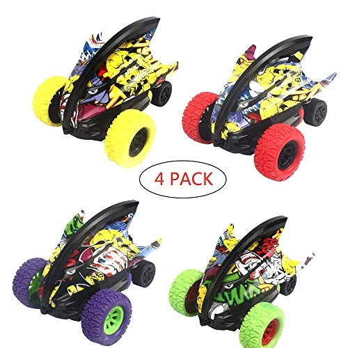 Toysgift Pull Back Cars Toys for Kids Toddlers Inertial 360 Rotation Stunt