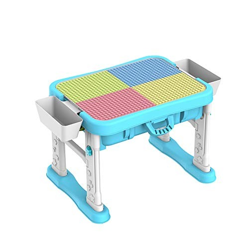 ShurndGao Kids Multi Activity Table Multifunctional Baby Game 3-6 Years Old Boy and Girl Puzzle Building Blocks Assembled Toy Children Wooden Color Blue Size 50x50x65cm