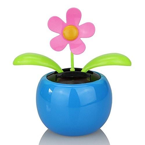 everd1487HH Solar Powered Dancing Flower Flip Flop Leaves Car Display Dashboard ToyHome Desktop Decoration Life Gadget- Blue