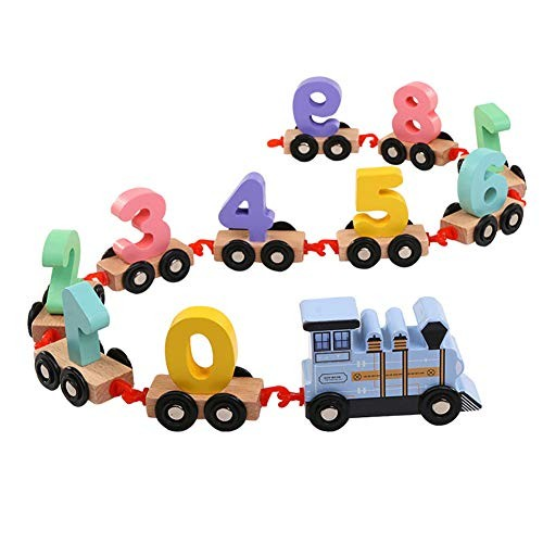 Children's Early Education Building Blocks Numbers Train Assembling Wooden Toy Learning & Perfect Fun Time Play Activity Gift for Blue