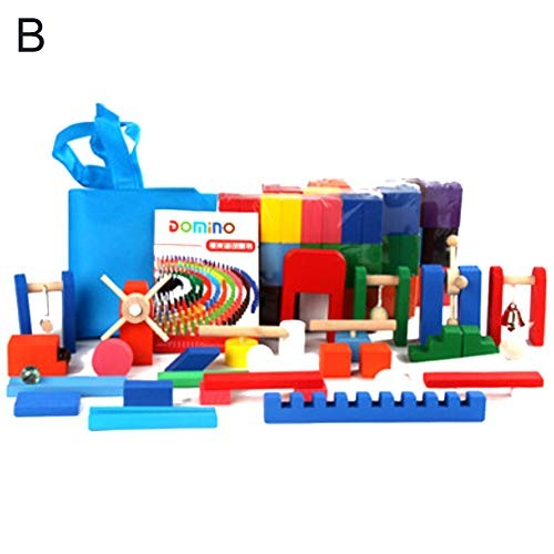 Wooden Dominoes Set Children Building Blocks Education Tile Games Puzzles & Magic Cubes Perfect Fun Time Play Activity Gift for B