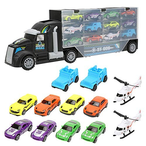 Tnfeeon Plastic Truck Trailer Toy Carrying Carrier Truck Model Container Case with Toy Car