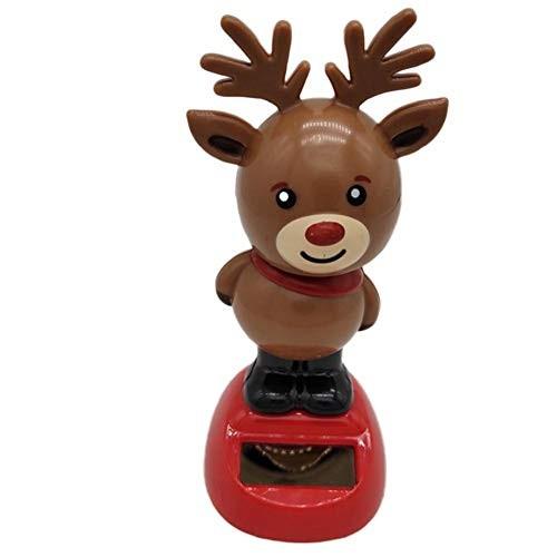 isilky 1PC Solar Dancing Toy Car Dashboard Nodding Dolls Bobble Head Doll Shaking Figures Home Desk Decor for Christmas – Elk