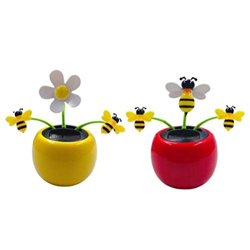Amosfun 2pcs Solar Powered Dancing Flower Sunflower Car Decor Toy Gift Dashboard Office Desk Home 1pc Red and 1pc Yellow Bee