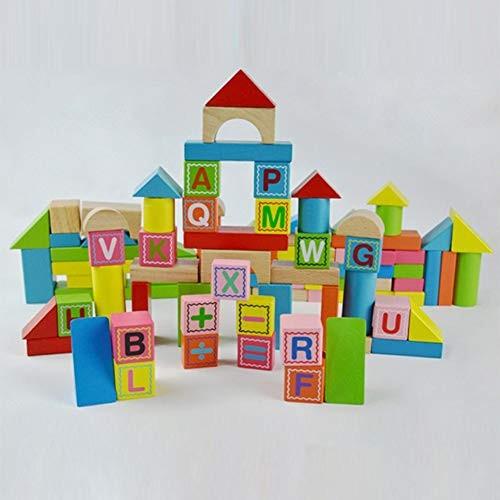 Alician 100pcs Numbers Alphabet Bucket Blocks Children Non-Toxic Wooden Building Set Toy Bricks Developmental