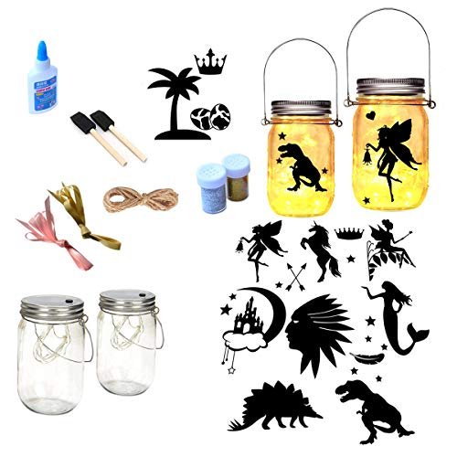 Fairy Lantern Craft Kit For Kids Children Toy Set Kits Arts And Crafts Jar Night Light Boys Girls Age 6 7 8 9 10 Year Old Gifts Diy Make Your Own Dino Fairy