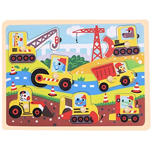 MeterMall Cute Toy for Wooden Jigsaw Puzzle Board Hand Grib Kid Early Educational Grab board-712-engineering