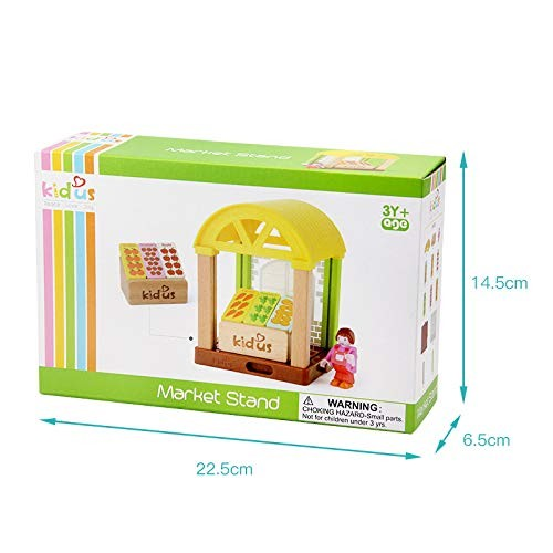 MeterMall Cute Toy for Kids Mini House Simulation School Building Blocks Wooden Assembly Puzzle Children Birthday Gift Market Station