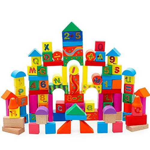MeterMall Cute Toy for 100pcs Blocks Non-Toxic Wooden Building Set Bricks Developmental