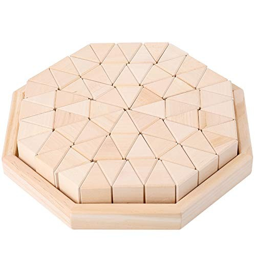 MeterMall Cute Toy for Wooden Stacking Up Building Blocks Triangular Cubes Kids Early Learning Education Toys Log Triangle