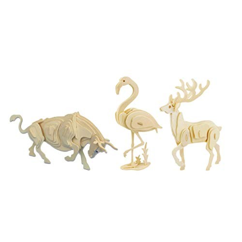 Milisten 3 Pcs Wooden Animals Puzzles Handmade Unfinished Animal Crafts 3D Building Block Toy Puzzle Jigsaw for School Project Children