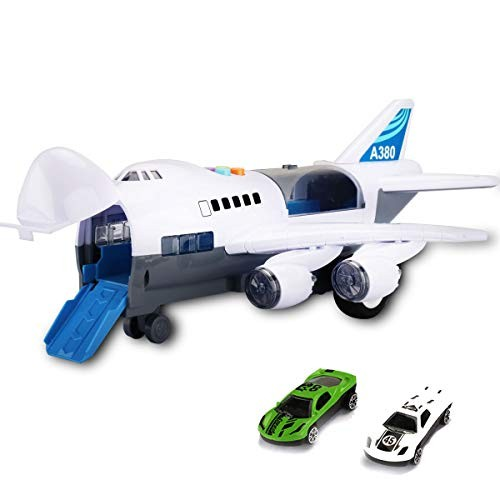 Lovinouse Kids Large Airplane Toys with 2 Toy Cars with Light Music Singing Song