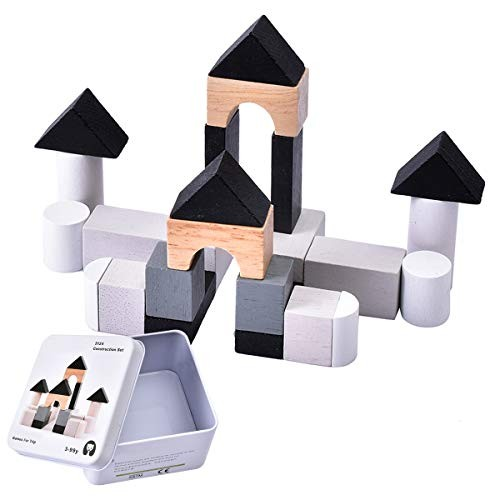 Wooden Building Blocks Set – 24 in 5 Colors and 8 Shapes