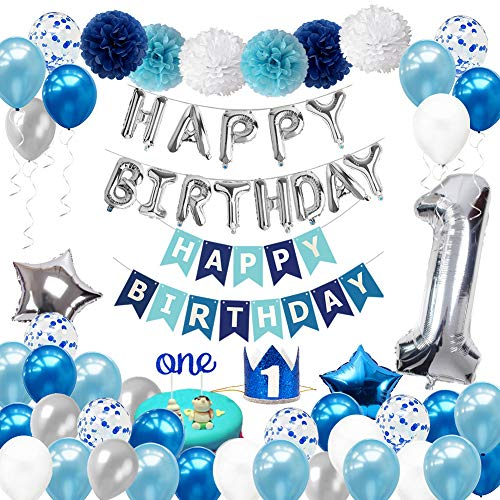 1st Birthday Decorations for Boys with Crown – First Boy Party Supplies 1 Year Old Kids HAPPY Banner Number One Balloon Cake Topper